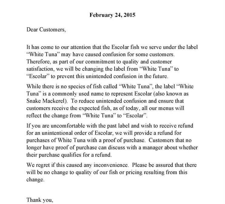 "Notice of ""White Tuna"" Label Change"